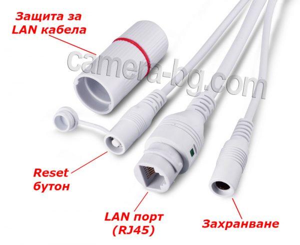 Кабелни накрайници на бяла IP камера