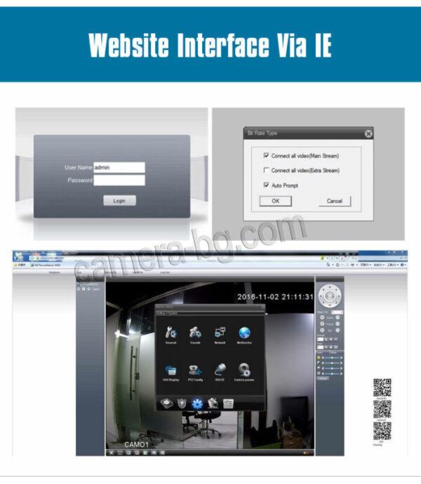 NVR видео рекордер с уеб интерфейс, наблюдение и настройка през браузър по IP адрес