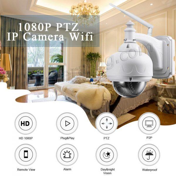 Охранителна високоскоростна IP камера, FullHD 1080P, 2MP, PTZ контрол, 5x Zoom увеличение, Wi-Fi безжична, запис на micro SD карта с памет до 128 GB, аудио, външна