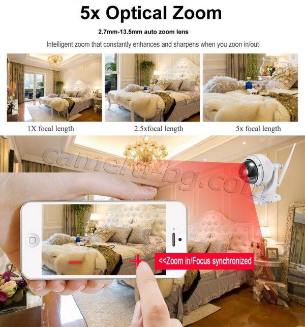 Охранителна високоскоростна IP камера, FullHD 1080P, PTZ контрол, 5x Zoom увеличение, 2MP, Wi-Fi безжична, запис на micro SD карта с памет до 128 GB, аудио, външна