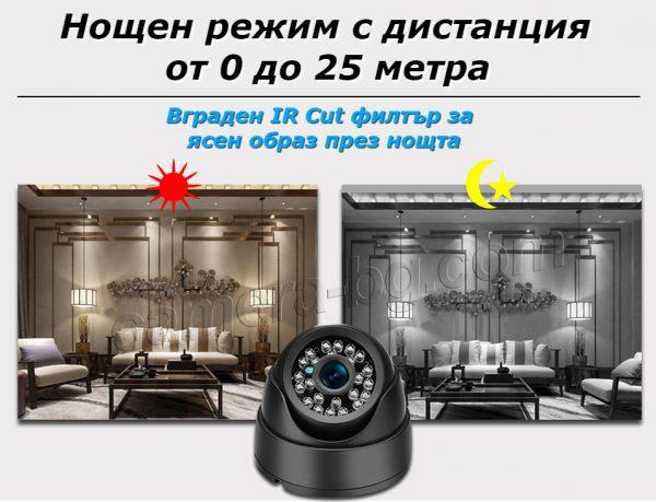 Куполна охранителна IP камера, HD 720P, 1MP, вътрешна, с нощен режим, с IR CUT филтър за по-ясна картина през нощта, Web, облак, наблюдение през Интернет