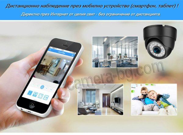 Куполна охранителна IP камера, HD 720P, 1MP, вътрешна, с нощен режим, Web, облак, наблюдение през Интернет