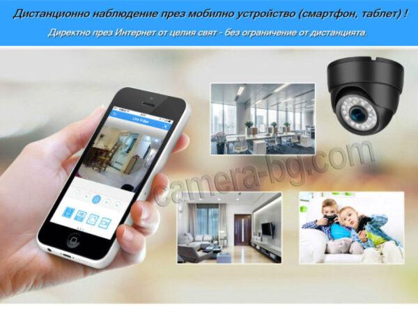 Куполна IP Камера за Видеонаблюдение, вътрешна, за охрана, режими ден и нощ, Web, облак, Наблюдение през Интернет