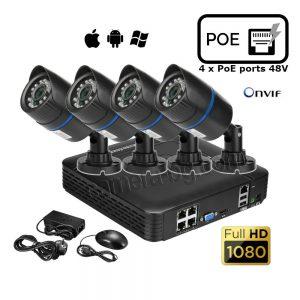 Комплект за видеонаблюдение – видео рекордер NVR PoE, FullHD 1080P, 4 x PoE LAN порта, 48V и от 1 до 4 бр. IP видео охранителни камери FullHD 1080P, 2MP, PoE 48V, външни