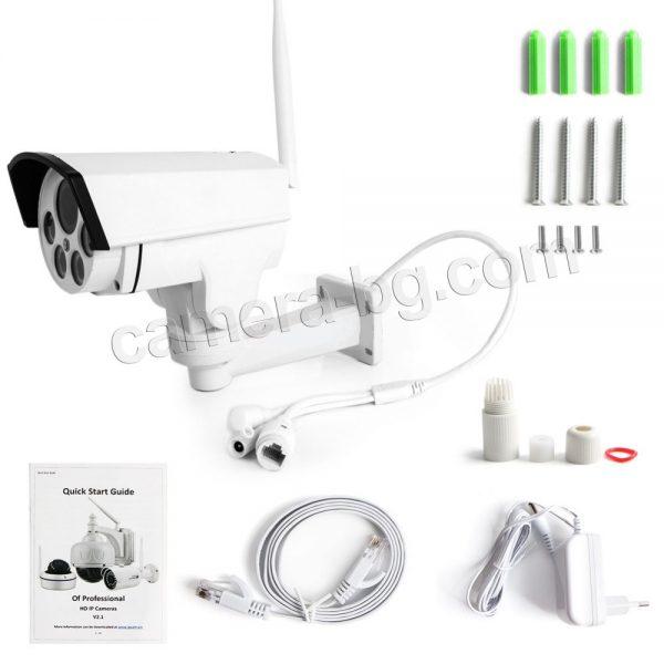 Охранителна външна IP камера, FullHD 1080P, 2MP, PTZ контрол, 5x Zoom увеличение, Wi-Fi безжична, слот за micro SD карта до 128GB, метална IP66,