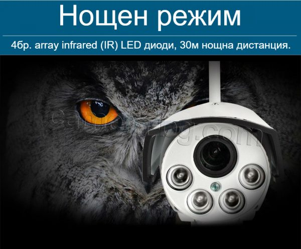 Охранителна външна IP камера, FullHD 1080P, 2MP, PTZ контрол, 5x Zoom увеличение, Wi-Fi безжична, слот за micro SD карта до 128GB, метална IP66, нощен режим 30м