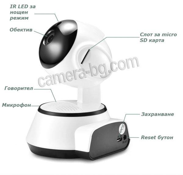 IP охранителна камера, бебефон, дистанционно управление и наблюдение, PTZ контрол, 720P 1MP, HD, Wi-Fi безжична, двупосочно аудио, слот за micro SD карта, автоматичен нощен режим, засичане на движение - описание
