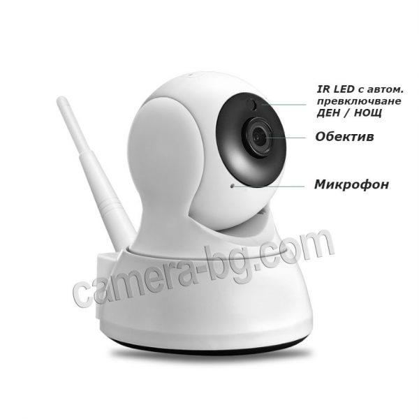 Охранителна камера, IP камера, бейбифон, интерком - HD 720p, 1.0MP, нощен режим с дистанция 15 метра и автоматично превклюване ден/нощ.