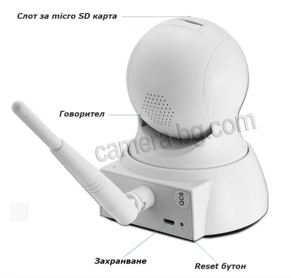 Охранителна камера, IP камера, бейбифон, интерком - HD 720p, 1.0MP, micro SD слот, PTZ контрол, двупосочно аудио, безжична Wi-Fi връзка.