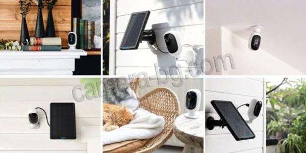 Соларна IP охранителна камера с батерия, FullHD 1080P, 2MP, Wi-Fi безжична, starlight нощен режим, PIR сензор, micro SD слот, двупосочно аудио, външна