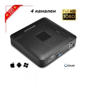NVR видео рекордер за IP камери - 4 канален, FullHD 1080P, 2MP, H.264, SATA HDD 3,5''