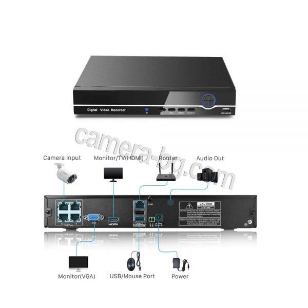 NVR + PoE – видео рекордер и LAN превключвател 48V за захранване на IP охранителни камери по LAN кабел, 4 LAN порта, FullHD 1080P, 2MP, H.264, HDD 3,5 ''