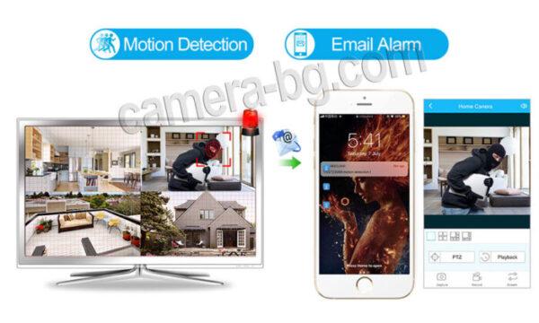 Готов комплект за видеонаблюдение - видеорекордер NVR , WiFi, FullHD 1080P и от 1 до 4 бр. IP камери FullHD 1080P, 2MP, Wi-Fi безжични, с аудио, външни, черни - запис и аларма при засичане на движение, изпращане на имейл.