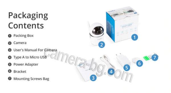 IP камера, охранителна камера, бейбифон, домофон, интерком - FullHD 1080p, 2.0MP, micro SD слот, PTZ контрол, двупосочно аудио, безжична Wi-Fi връзка, нощен режим, за вътрешна употреба