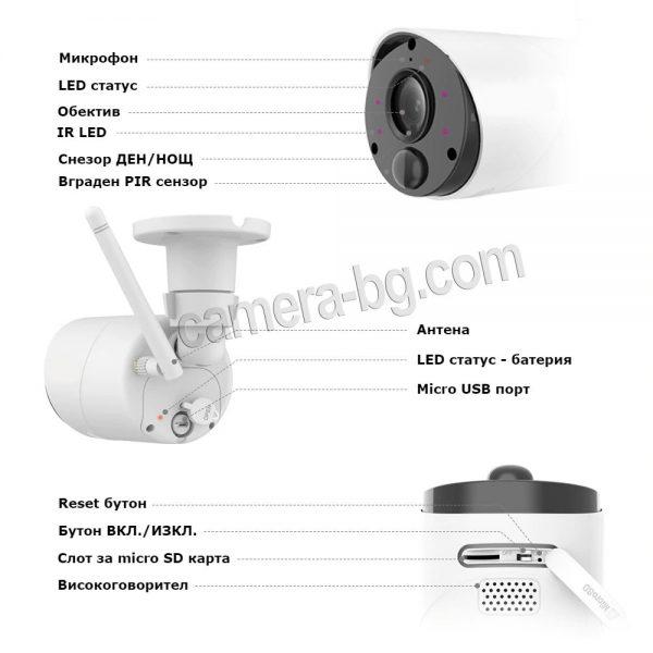 Соларна камера с батерия, IP камера, FullHD 1080P, 2MP, безжична Wi-Fi, PIR сензор, micro SD слот, двупосочно аудио - описание
