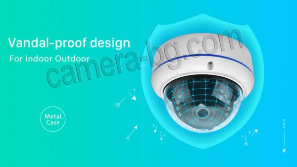 Охранителна IP камера, PoE 48V, външна, вандалоустойчива, метална, защита IP66, аудио