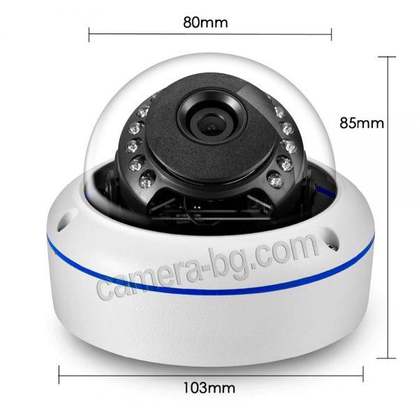Охранителна IP камера, PoE 48V, вандалоустойчива, метална, защита IP66, аудио - ултра висока резолюция - компактни размери