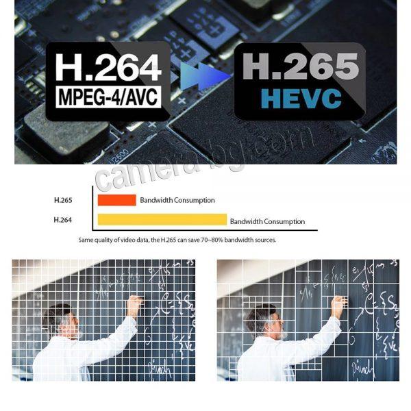 Охранителна IP камера, PoE 48V, външна, вандалоустойчива, метална, защита IP66, аудио - H.265