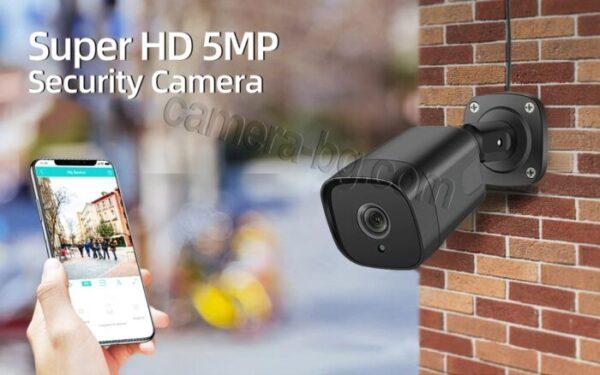 Охранителна камера 5MP, SuperHD, 4К, PoE 48V, външна, вандалоустойчива, метална, защита IP66, двупосочно аудио