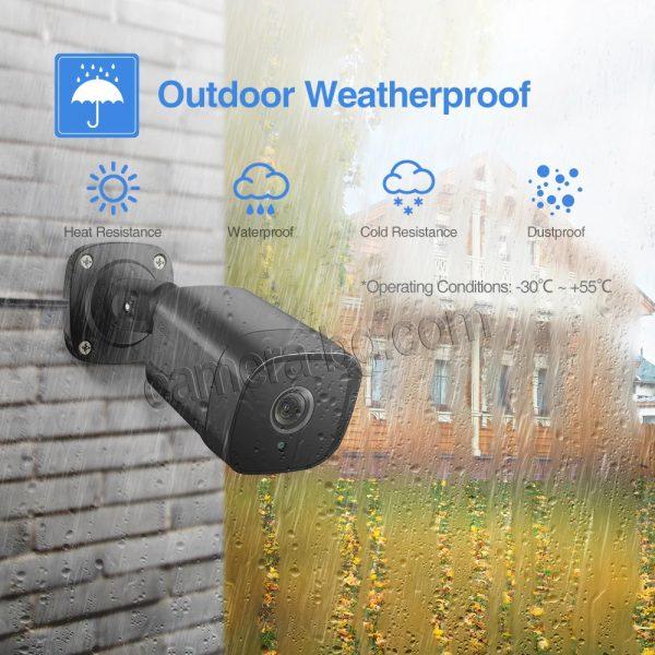 Охранителна камера 5MP, SuperHD, PoE 48V, външна, вандалоустойчива, метална, защита IP66, двупосочно аудио, аудио запис - водо и влаго устойчива защита