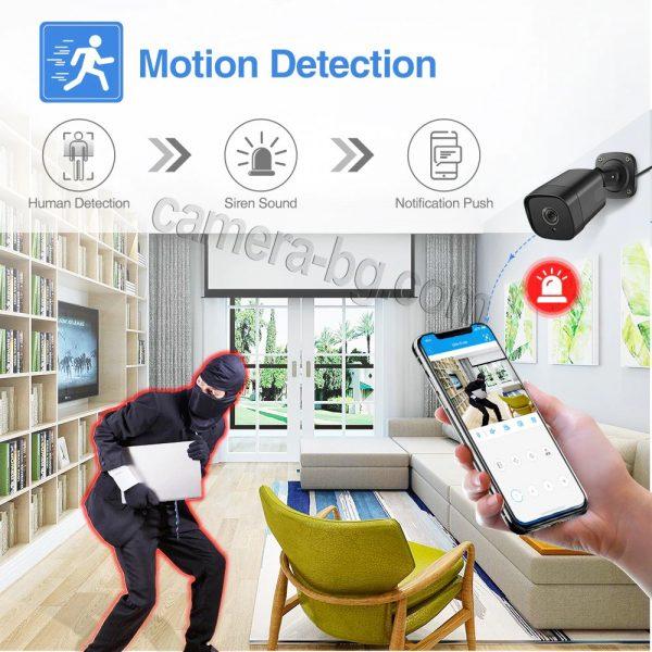 Охранителна камера 5MP, SuperHD, PoE 48V, външна, вандалоустойчива, метална, защита IP66, двупосочно аудио, засичане на движение с известяване на смартфона и на имейл