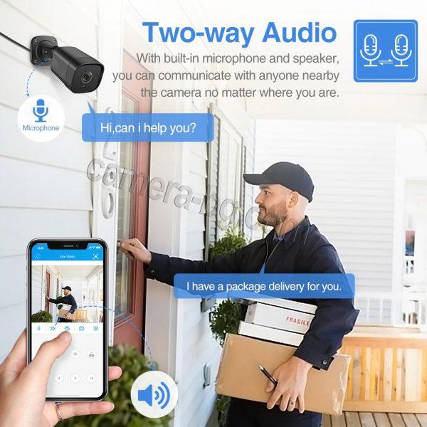 Охранителна камера 5MP, SuperHD, PoE 48V, външна, вандалоустойчива, метална, защита IP66, двупосочно аудио - вградени микрофон и говорител