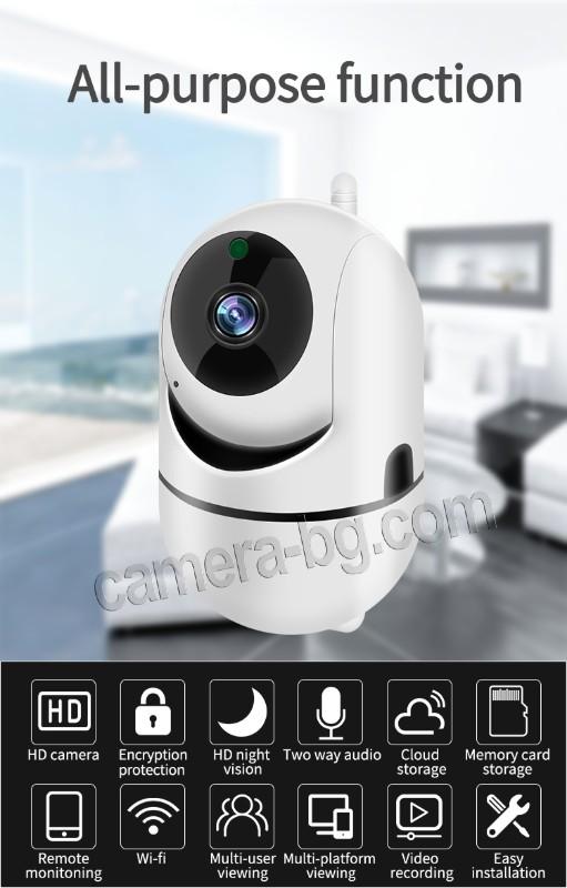 Охранителна камера за видеонаблюдение, интерком, FullHD 1080p 2MP, WiFI безжична, запис на звук - двупосочно аудио, micro SD слот за записи на карта с памет, IR CUT филтър - мулти финкционална Smart камера