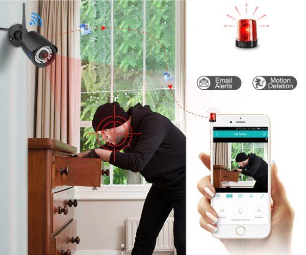 Охранителна IP камера за видеонаблюдение със звук, FullHD 1080P, 2MP, безжична WiFi, слот за SD карта, H.265, двупосочно аудио, външна - засичане на движение, функция Human Shape Detection