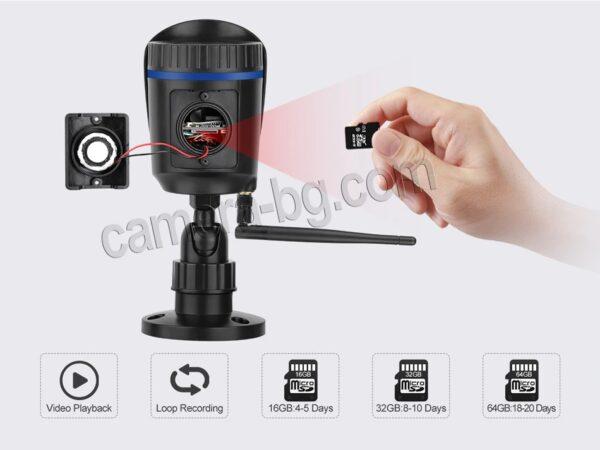 Охранителна IP камера за видеонаблюдение със звук, FullHD 1080P, 2MP, безжична WiFi, слот за SD карта, H.265, двупосочно аудио, външна - външен, удобен достъп до SD слота
