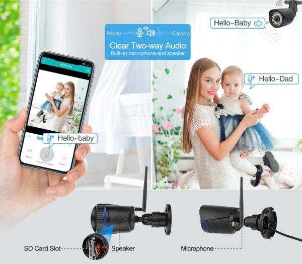 Охранителна IP камера за видеонаблюдение със звук, FullHD 1080P, 2MP, безжична WiFi, слот за SD карта, H.265, двупосочно аудио, външна - дистанционно наблюдение от цял свят
