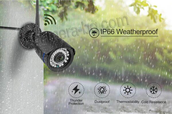 Охранителна IP камера за видеонаблюдение със звук, FullHD 1080P, 2MP, безжична WiFi, слот за SD карта, H.265, двупосочно аудио, външна - водоустойчива защита IP66