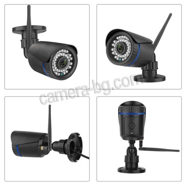 Охранителна IP камера за видеонаблюдение със звук, FullHD 1080P, 2MP, безжична WiFi, слот за SD карта, H.265, двупосочно аудио, външна - детаили