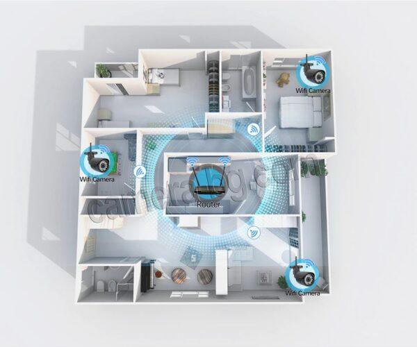 Охранителна IP камера за видеонаблюдение със звук, FullHD 1080P, 2MP, безжична WiFi, слот за SD карта, H.265, двупосочно аудио, външна - безжична връзка с висок обхват