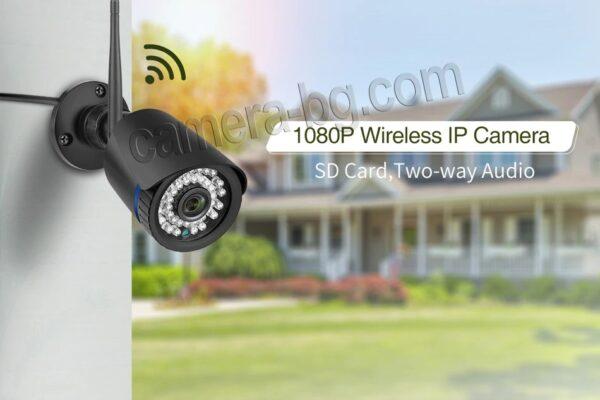 Охранителна IP камера за видеонаблюдение със звук, FullHD 1080P, 2MP, безжична WiFi, слот за SD карта, H.265, двупосочно аудио, външна - външен или вътрешен монтаж - на стена, таван и др.