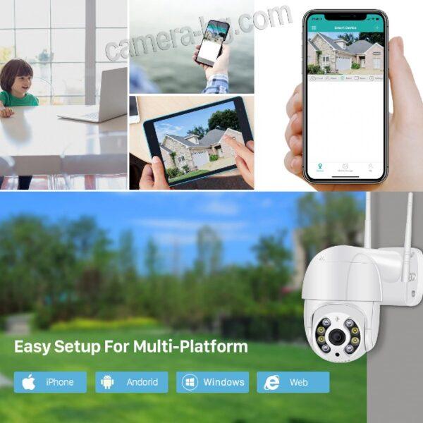 Охранителна Куполна IP Камера за Наблюдение, FullHD 1080P, 2MP, Безжична WiFi, PTZ Контрол, Слот за SD Карта, H.265, Двупосочно Аудио, Външна
