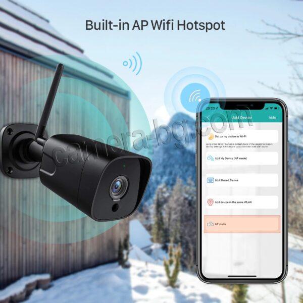 Охранителна Камера за Видеонаблюдение със Звук, 5.0MP SuperHD 1944P, безжична WiFi, вграден WiFi Hotspot Access Point, слот за micro SD карта, двупосочно аудио, външна IP66, метален корпус