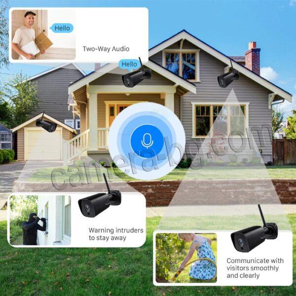 Охранителна Камера за Видеонаблюдение със Звук, 5.0MP SuperHD 1944P, безжична WiFi, слот за micro SD карта, двупосочно аудио, външна IP66, метален корпус - лесна първоначална инсталация
